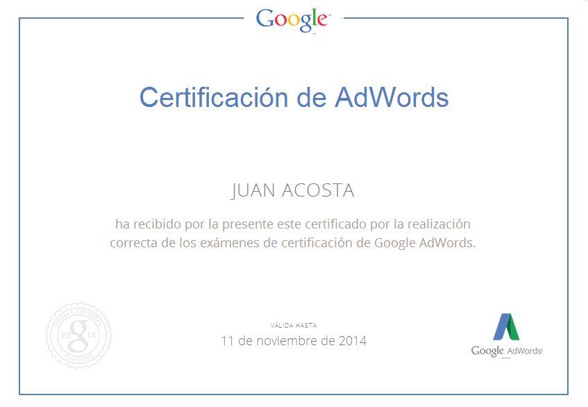 Certificacion Adwords