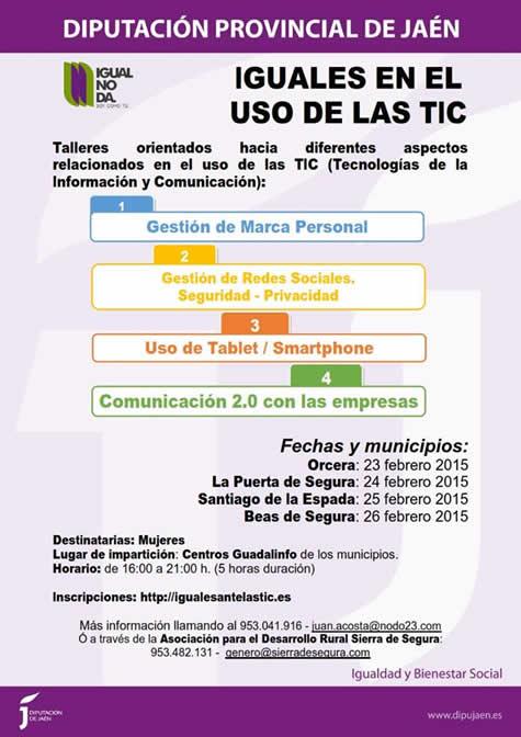 """Cartel de los talleres """"Iguales en el uso de las TIC"""". DIPUTACIÓN DE JAÉN"""