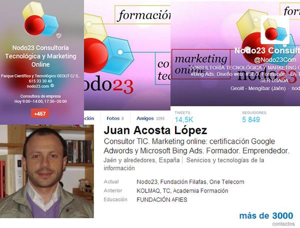 nodo23 cuenta con más de 10000 seguidores en sus redes sociales. Google+, Facebook, Twitter, Linkedin