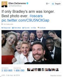 Selfie protagonizado por famosos durante Los Oscars 2014